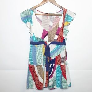 GUC Anthro RicRac multicolored flutter sleeve top